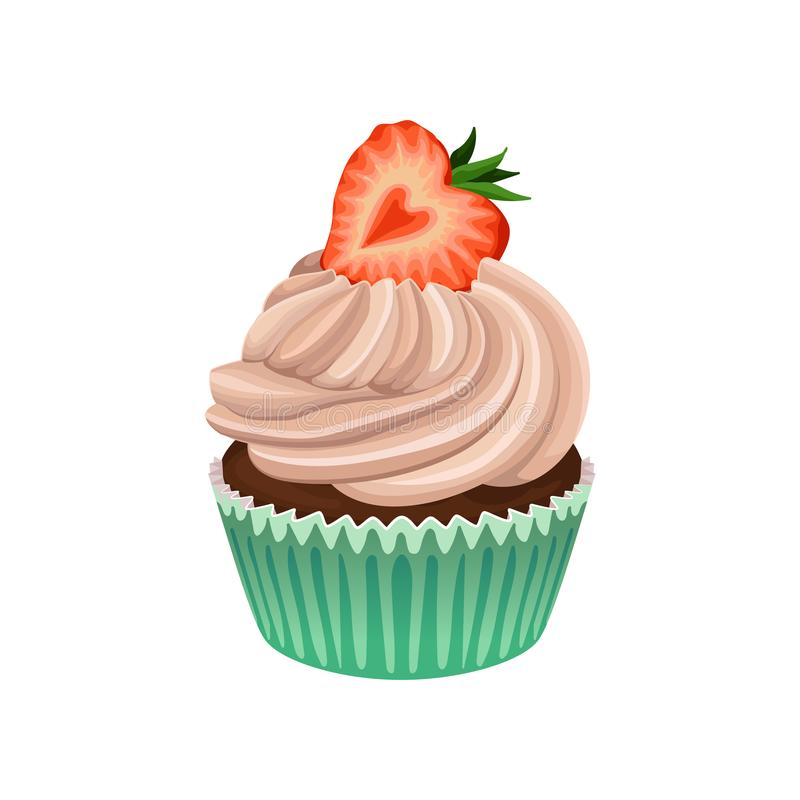 Muffin with cream and strawberry on top. Delicious cupcake in wrapper baking cup. Flat vector element for bakery store vector illustration