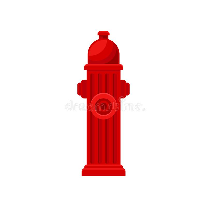 Flat vector icon of red fire hydrant. Metal water pipe with nozzles for hose. Firefighting theme royalty free illustration