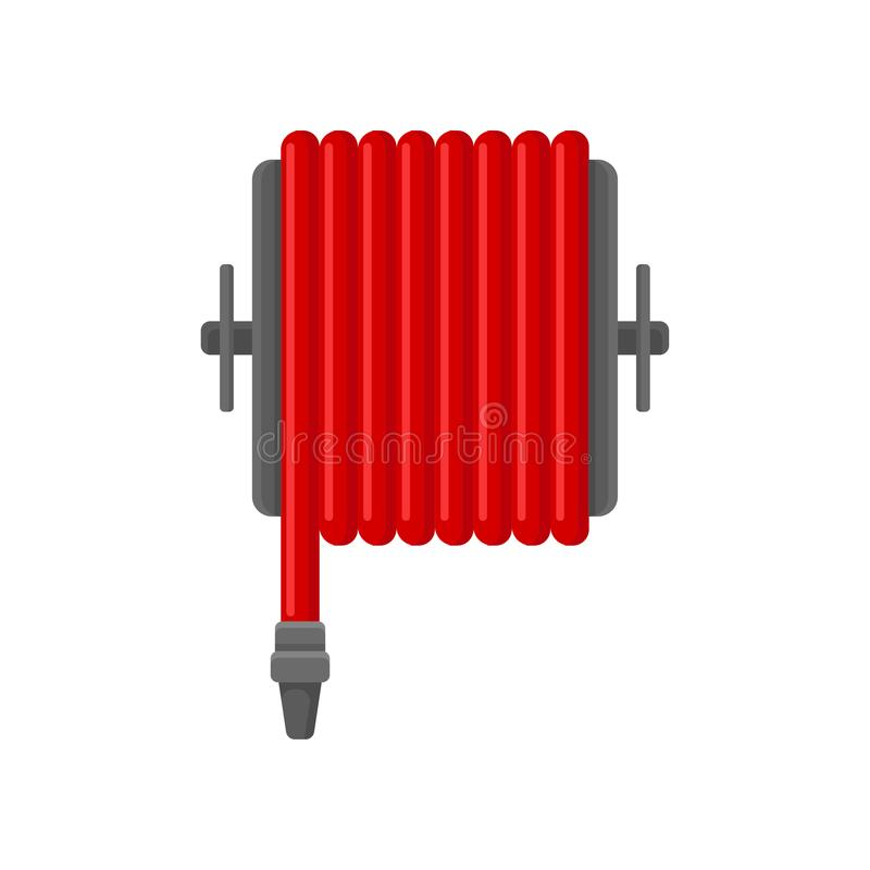 Flat vector icon of red water hose for fire fighting. Flame prevention tool. Object for concept about safety and royalty free illustration