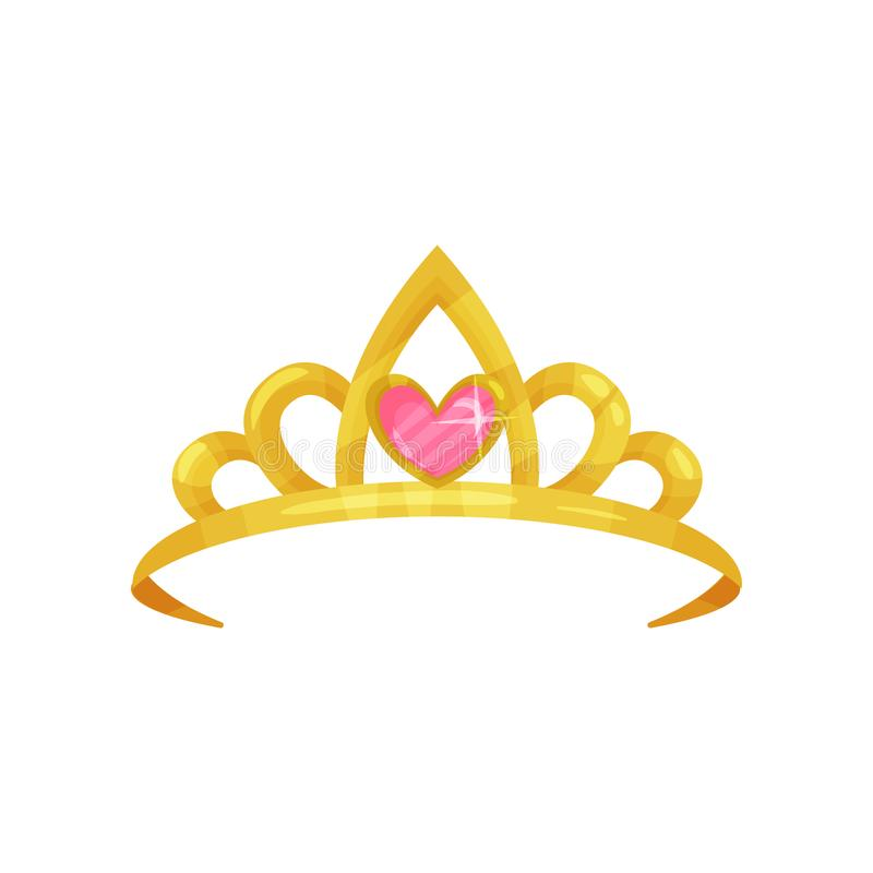 Cartoon icon of shiny princess crown with precious pink stone in shape of heart. Golden ancient queen tiara. Symbol of. Royal dignity. Colorful flat vector royalty free illustration