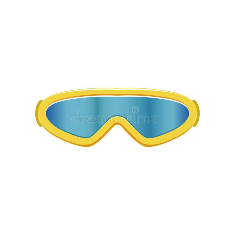 Cartoon icon of ski goggles. Winter sport glasses with blue lenses and yellow frame. Protective eyewear. Flat vector stock illustration