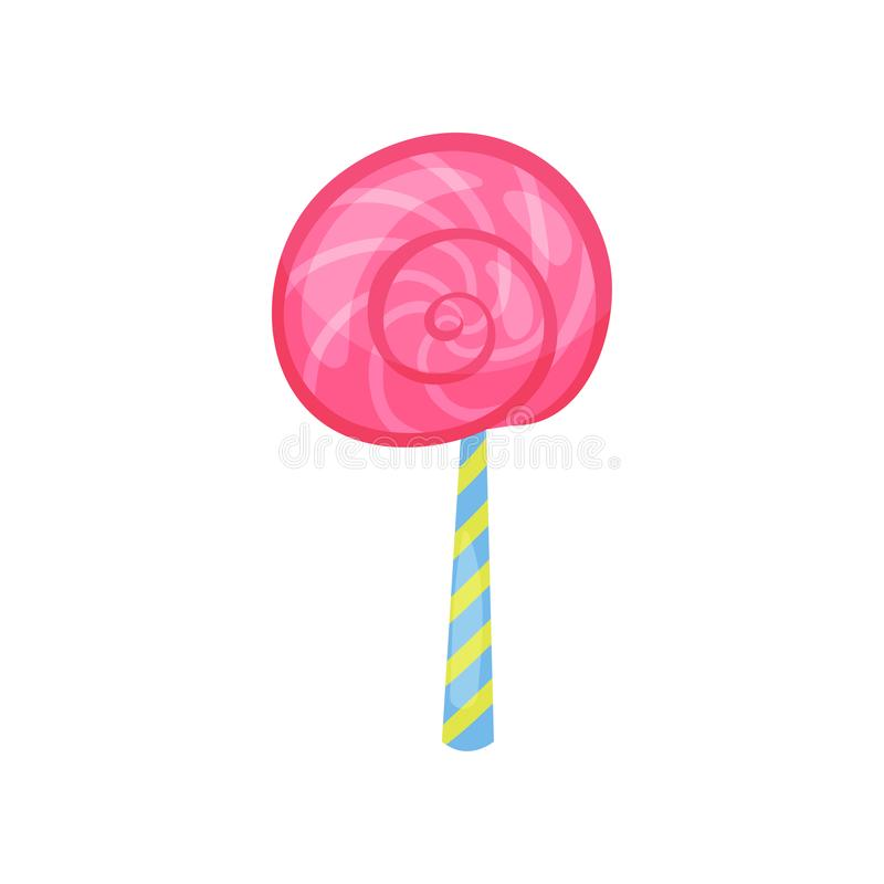 Cartoon icon of strawberry lollipop in flat style. Tasty spiral candy on stick. Colorful vector design element for Happy vector illustration