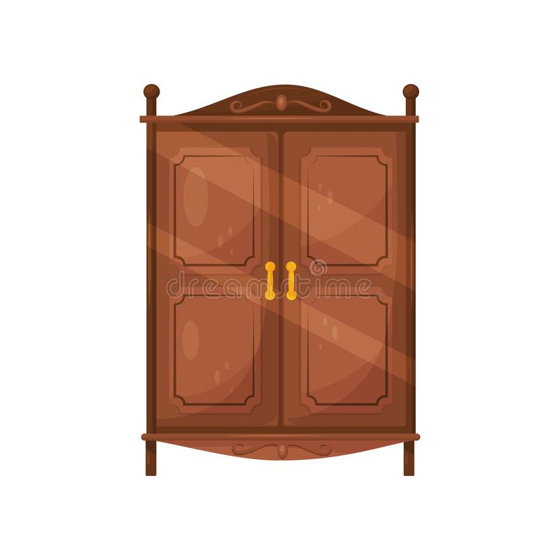 Flat vector icon of vintage wooden cabinet with golden handles. Classic furniture for bedroom. Brown cupboard vector illustration