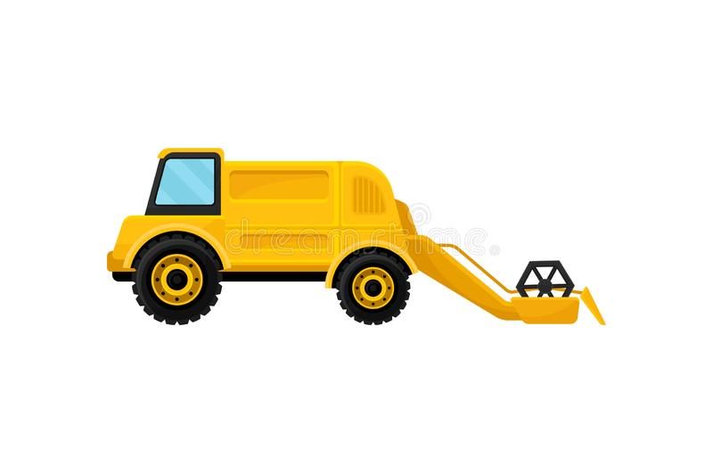 Yellow combine harvester or reaping machine. Heavy machinery. Farm equipment. Agricultural vehicle. Flat vector icon vector illustration