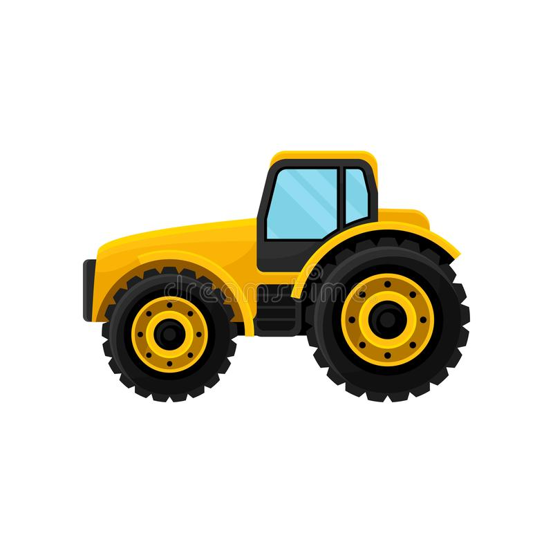Yellow tractor with large wheels, side view. Heavy machinery. Farm equipment. Modern agricultural vehicle. Flat vector royalty free illustration