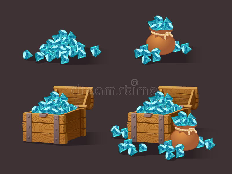 Cartoon Icons blue crystals. Gemstones,gems,diamonds for the games interface web, game or application interfaces. Vector illustration, animation.Treasure chest stock illustration