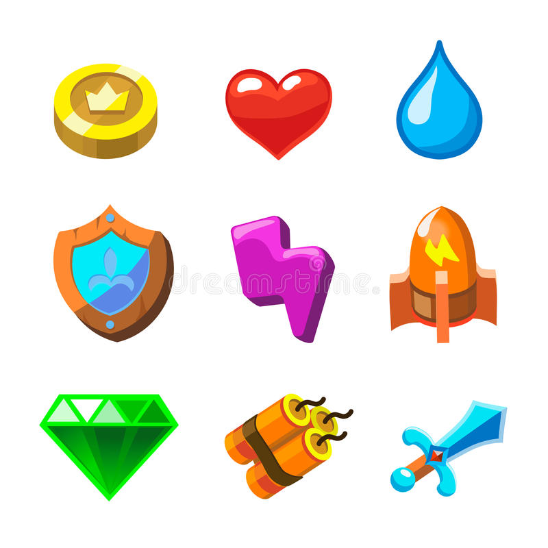 Cartoon icons for game user interface, vector set royalty free illustration