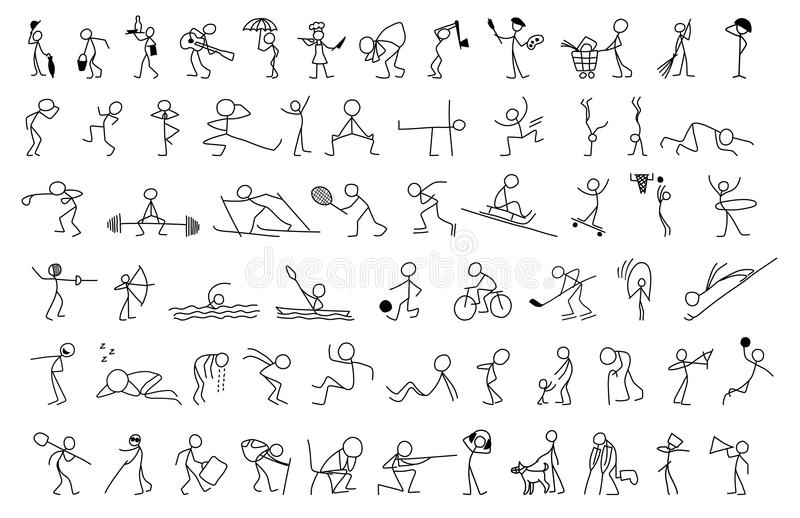 Cartoon icons set of sketch little people in cute miniature scenes. vector illustration