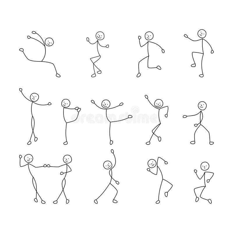 Cartoon icons set of sketch little people stick figure, dancing people, freehand drawing, sketch, stick figure man royalty free stock photos