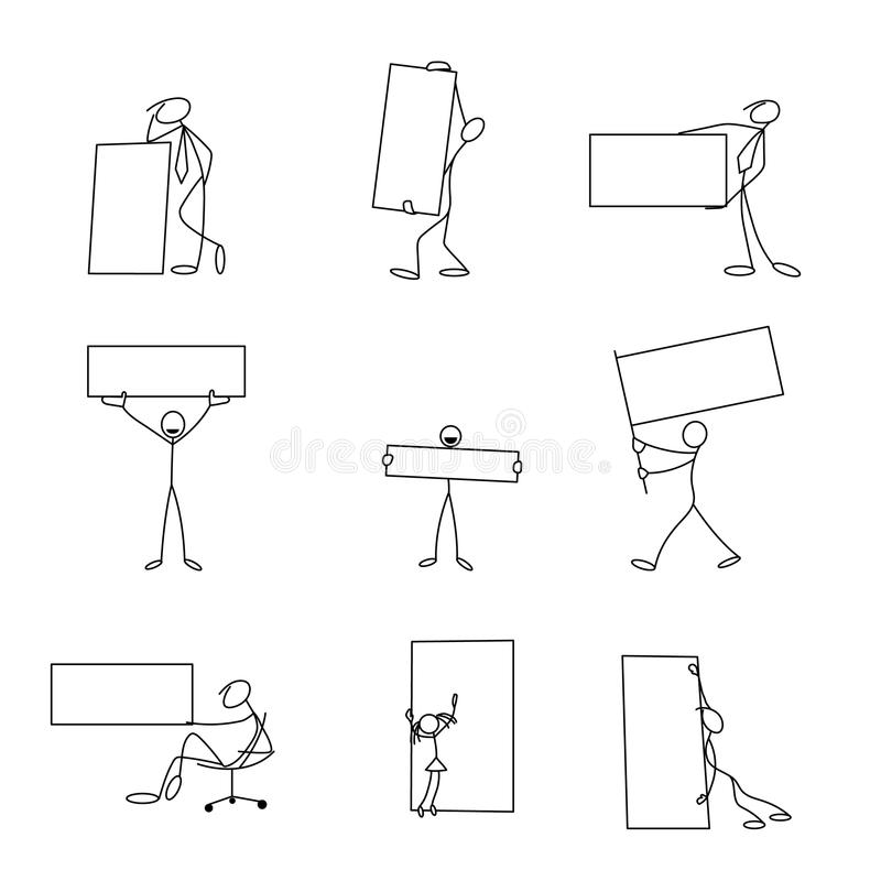 Cartoon icons set of sketch stick business figures in cute miniature scenes. stock illustration