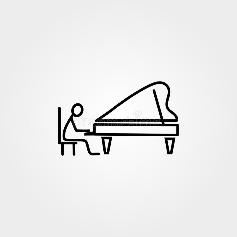 Cartoon icons set of sketch stick musician figure in cute miniature scenes. royalty free illustration