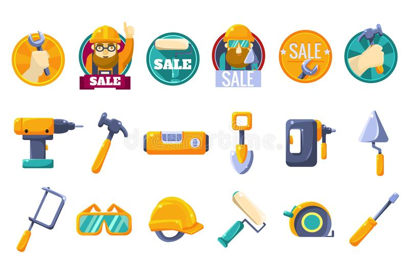 Cartoon icons set with tools for hardware store. Collection of working instruments. Round badges for sale with text and stock illustration