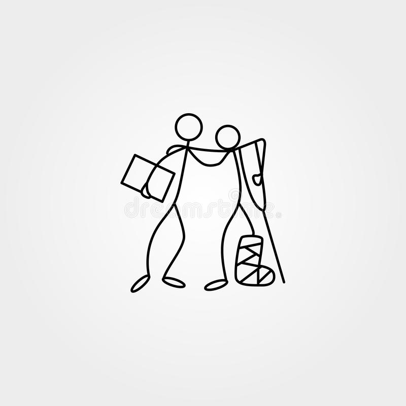 Cartoon icons of sketch stick figures in cute miniature scenes. royalty free illustration