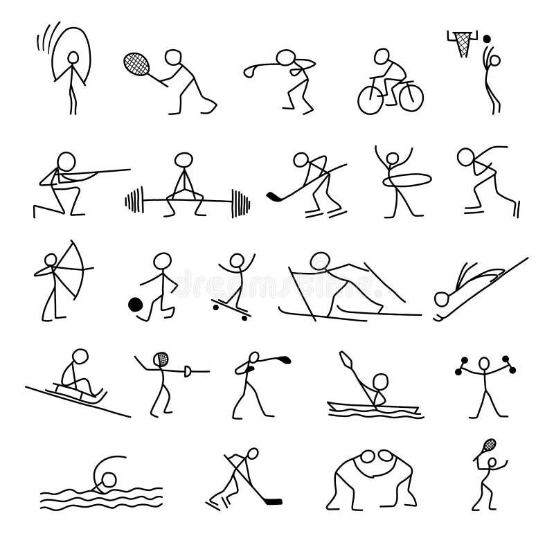 Cartoon icons sport set of stick figures sketch little people vector illustration