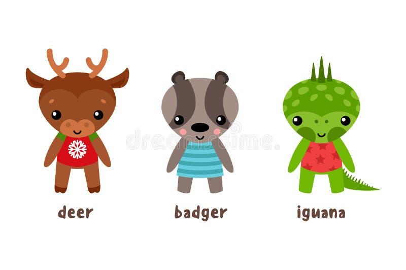 Cartoon iguana and deer, badger animal vector illustration