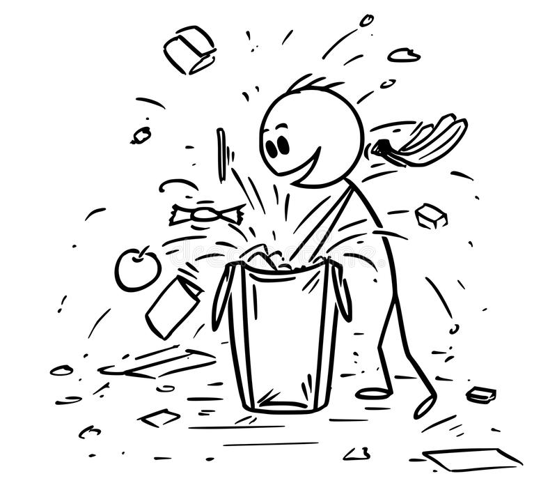 Cartoon of Ill-Mannered Child or Boy Messing Up the Shopping Bag While Looking for Gift or Candy vector illustration