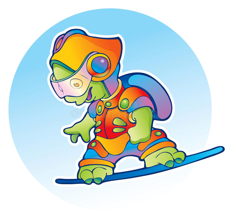 Sportive alien flying on air skateboard royalty free stock photography