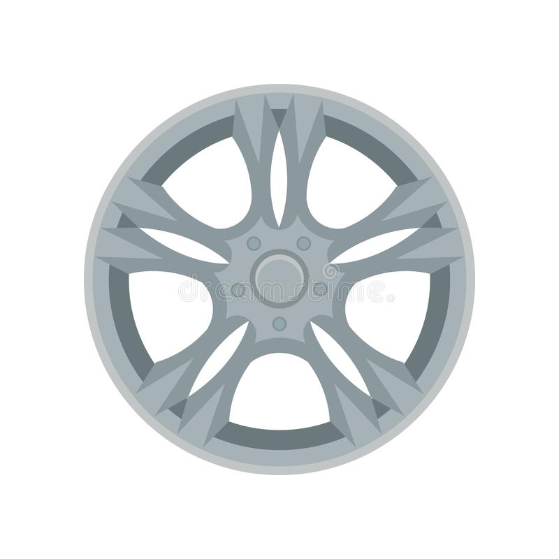Flat vector icon of alloy wheel. Gray car disk. Element for advertising banner or poster of auto shop vector illustration