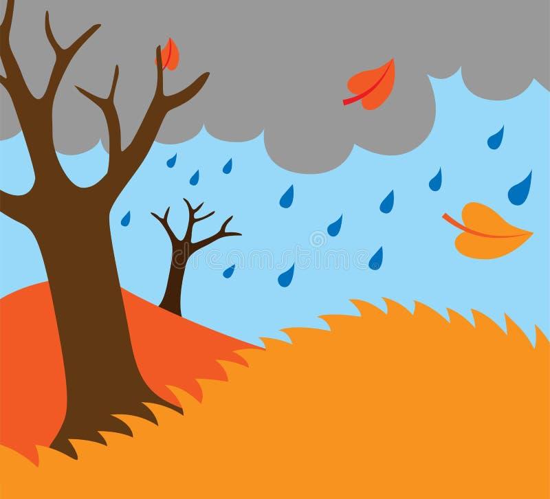 Cartoon illustration of autumn fall nature background. With trees raining stock illustration