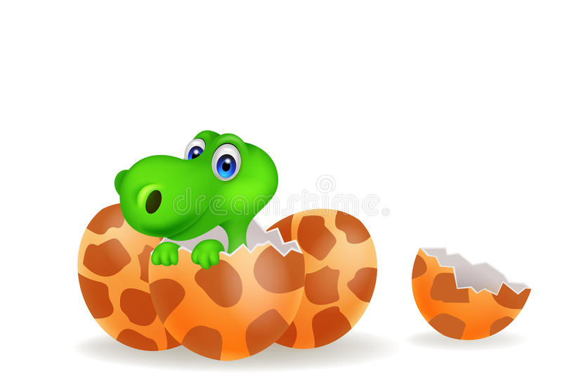 Cartoon illustration of a baby dinosaur hatching stock illustration