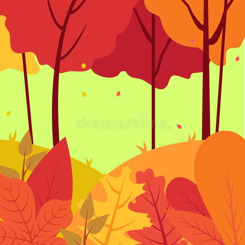 Cartoon illustration background of colorful forest in autumn stock illustration