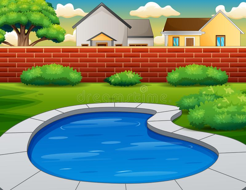 Background of swimming pool in backyard stock illustration