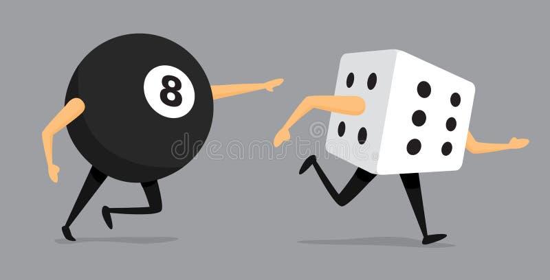 Bad luck eight ball chasing dice stock illustration