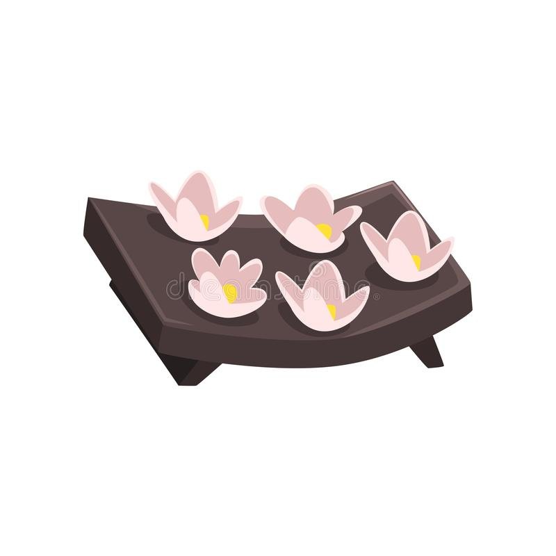 Beautiful tropical flowers on wooden tray. Spa and beauty theme. Cartoon vector element for promo poster or brochure. Cartoon illustration of beautiful tropical stock illustration