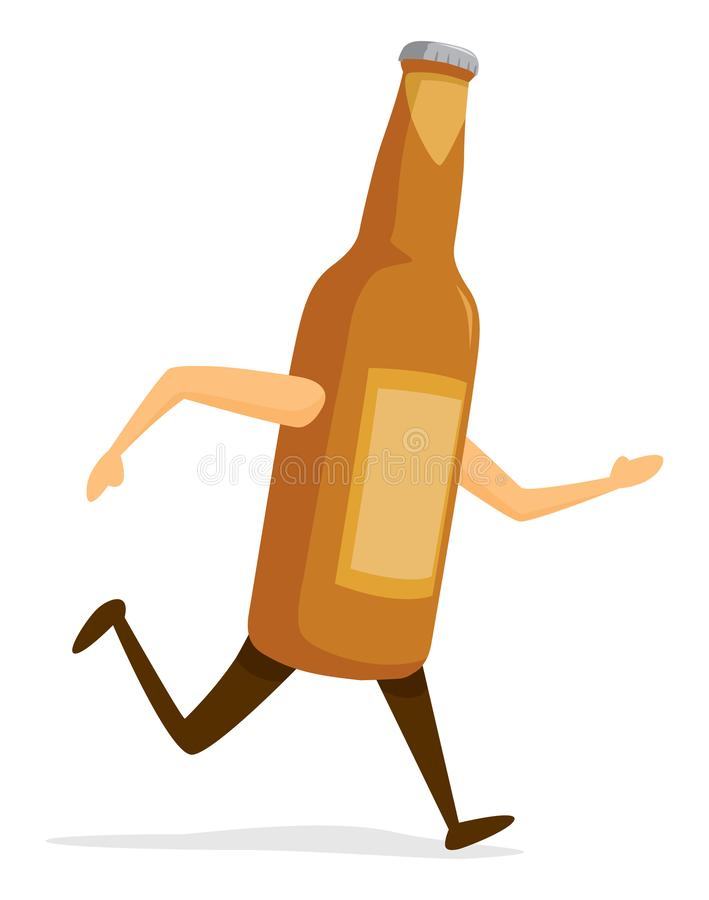 Beer bottle running fast. Cartoon illustration of beer bottle on the run vector illustration