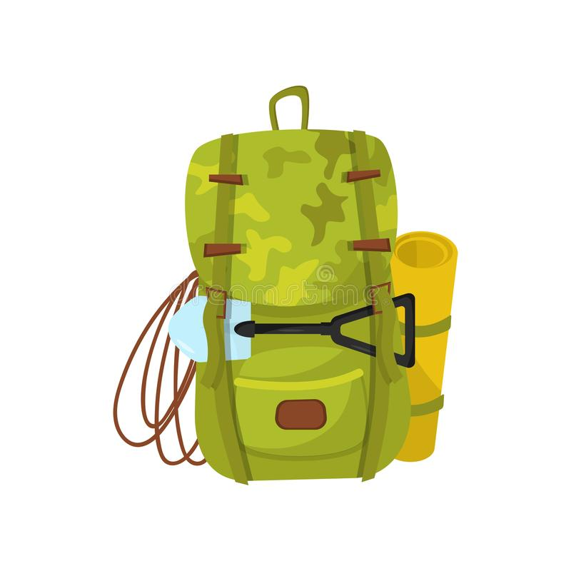 Flat vector icon of big camouflage backpack with small shovel, rope and yellow tourist mat. Traveler equipment. Hiking stock illustration