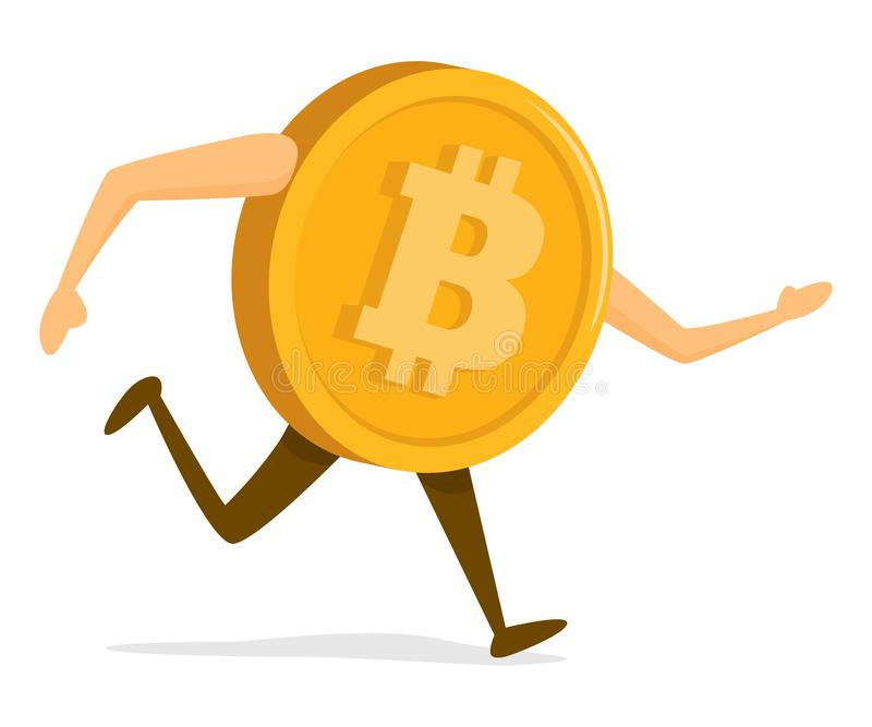 Digital bitcoin on the run royalty free illustration