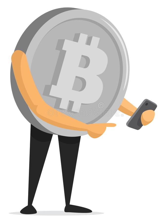 Bitcoin currency holding a smartphone vector illustration