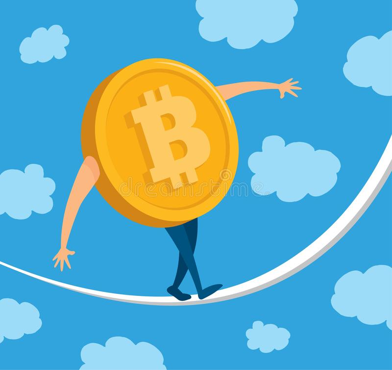 Bitcoin currency balancing on rope royalty free illustration