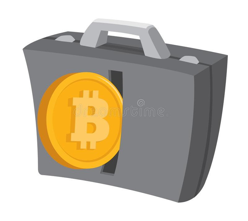 Bitcoin currency entering business suitcase vector illustration