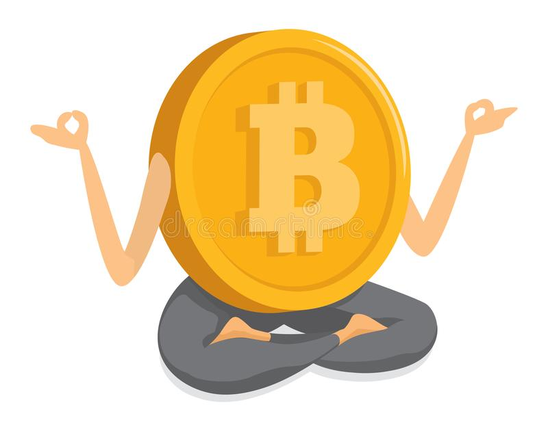 Bitcoin currency practicing yoga vector illustration