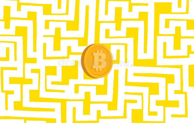 Bitcoin money trapped in maze stock illustration