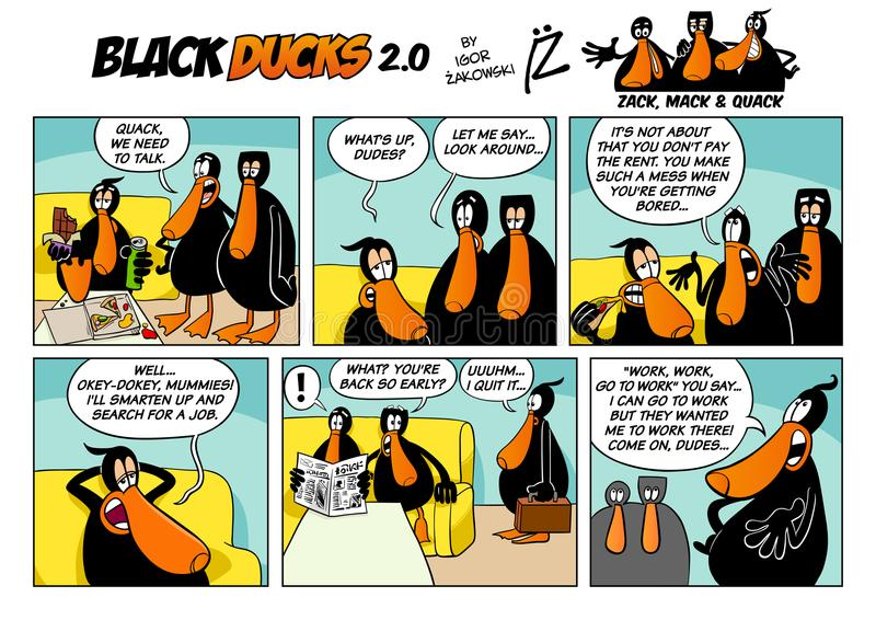 Black Ducks Cartoon Comic Strip 2 episode 1. Cartoon Illustration of Black Ducks 2 Comic Story Episode 1 stock illustration
