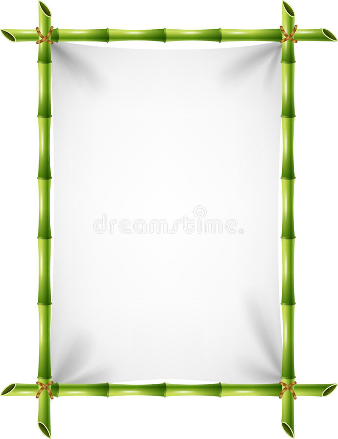 Cartoon illustration of blank sign with bamboo frame stock illustration