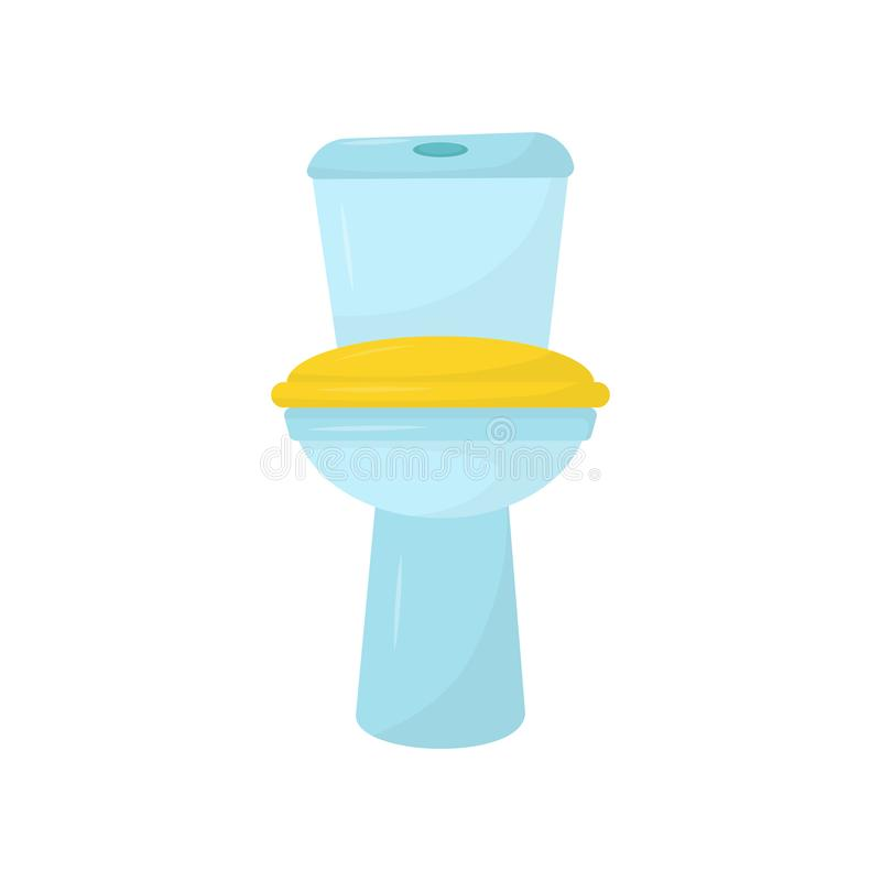Flat vector icon of blue ceramic toilet with yellow seat. Element for promo poster or banner of plumbing supply store royalty free illustration