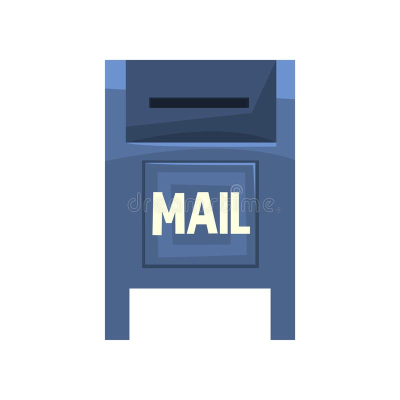 Cartoon illustration of blue outdoor mailbox. Large metallic roadside postbox. Public box with little slot for envelopes. Letters. Front view. Colorful flat vector illustration