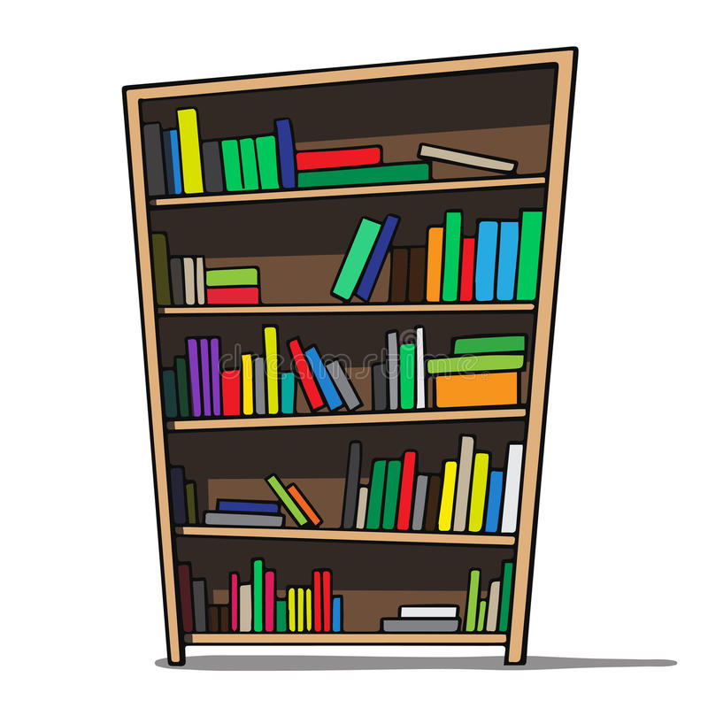 Bookshelves Clip Art ~ Cartoon illustration of a bookshelf stock vector
