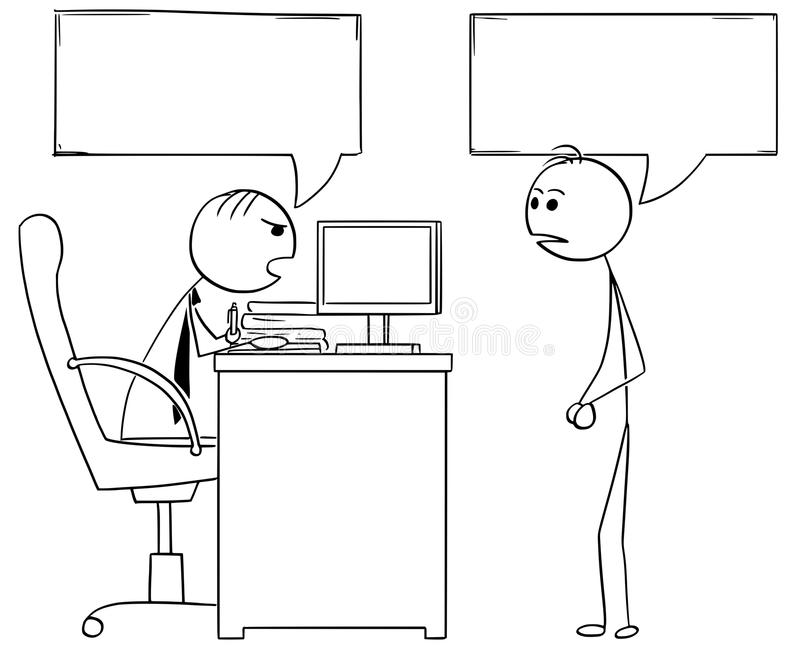 Cartoon Illustration of Boss Manager Talking with Male Employee royalty free illustration