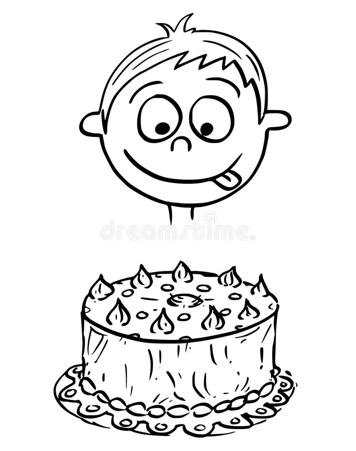 Cartoon Illustration Of Boy Looking At Birthday Cake Stock Vector