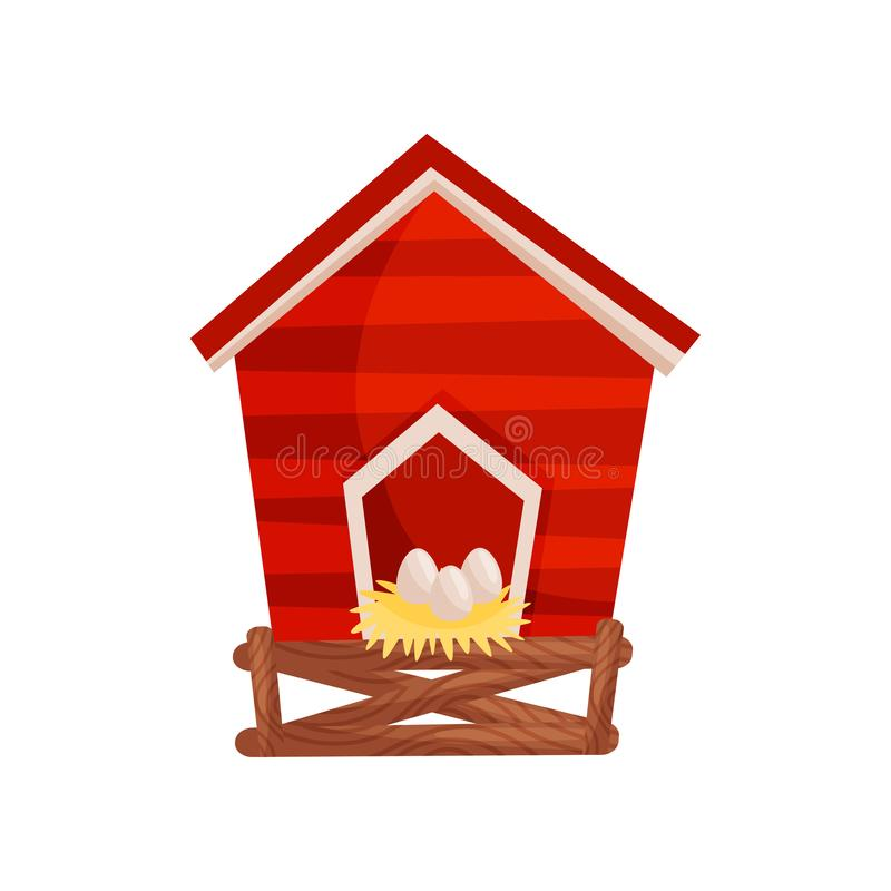 Cartoon vector icon of bright red chicken coop, fresh eggs in the nest. Wooden house for domestic birds stock illustration