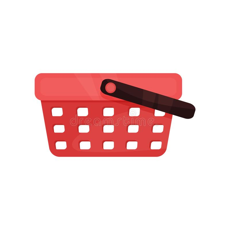 Flat vector icon of bright red shopping basket with single black handle. Plastic container for carrying products in stock illustration