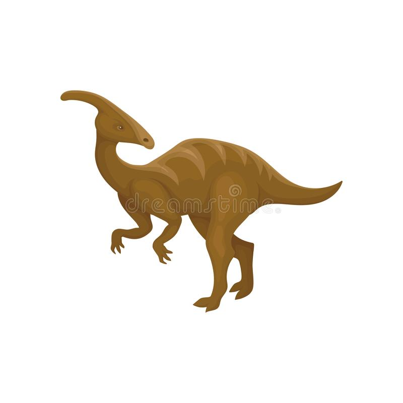 Flat vector design of brown parasaurolophus. Prehistoric animal. Dinosaur with long tail and crest on head royalty free illustration