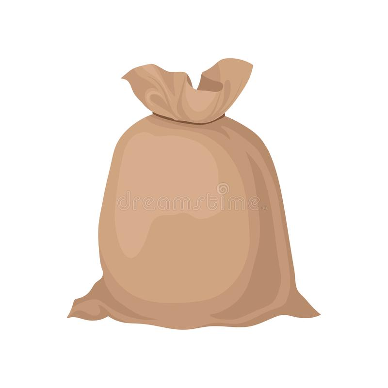 Burlap sack tied with rope. Big brown bag with grain or flour. Flat vector element for promo poster or banner of farm. Cartoon illustration of burlap sack tied royalty free illustration