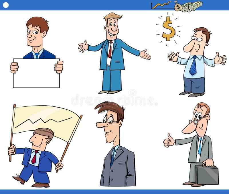 Cartoon funny businessmen characters set stock illustration