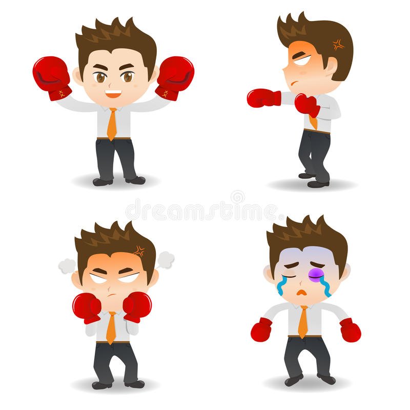 Cartoon illustration Business man boxing. Cartoon illustration set of Business man boxing royalty free illustration