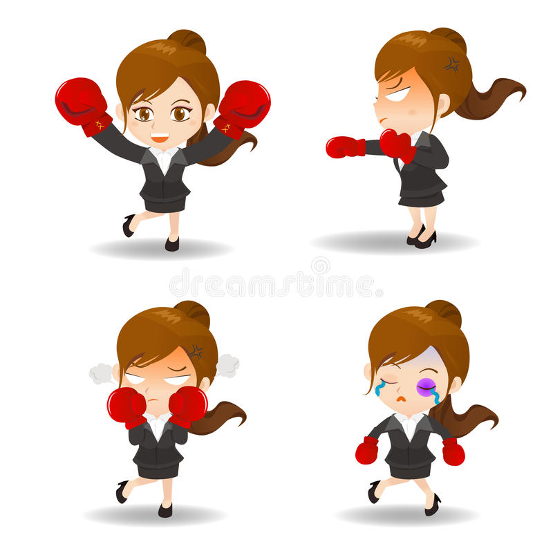 Cartoon illustration Business woman boxing. Cartoon illustration set of Businesswoman boxing royalty free illustration